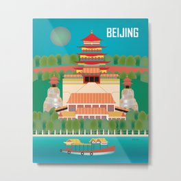 Beijing, China - Skyline Illustration by Loose Petals Metal Print