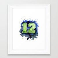 seahawks Framed Art Prints featuring 12th Man Seahawks Seattle Go Hawks Art by Olechka