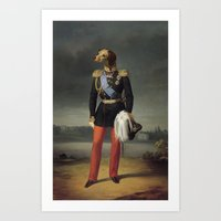 military Art Prints featuring dog military by UiNi