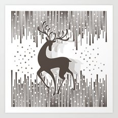 Dancing Deer - Black & White Art Print