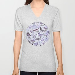 Dragonflies, Butterflies and Moths With Plants on Pale Blue Unisex V-Neck