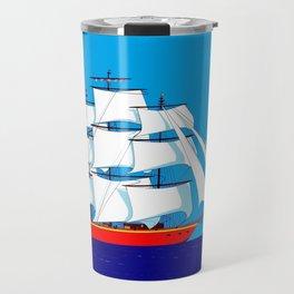 Clipper Ship in Sunny Sky Travel Mug