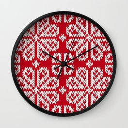 Red Knitted Fabric Christmas Pattern Wall Clock