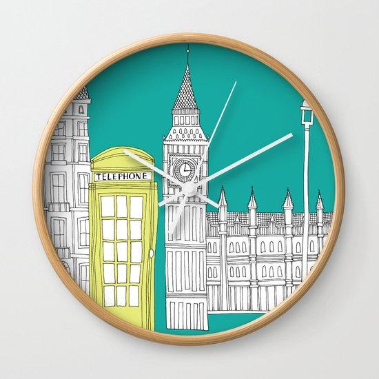 London - City prints // Red Telephone Box Wall Clock
