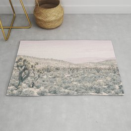 Mojave Pink Dusk // Desert Cactus Landscape Soft Cloudy Sky Mountain Scape Photograph Rug