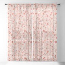 Pink Ditsy Flower Garden Sheer Curtain