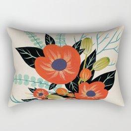 Red Poppies - Ivory Rectangular Pillow