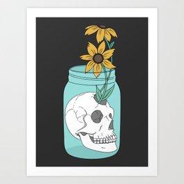 Skull in Jar with Flowers Art Print