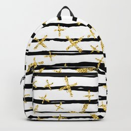Pattern with brush stripes and gold glitter cross Backpack