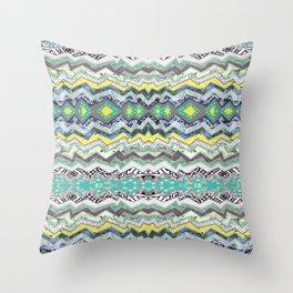 Teal Yellow White Midnight Aztec Throw Pillow