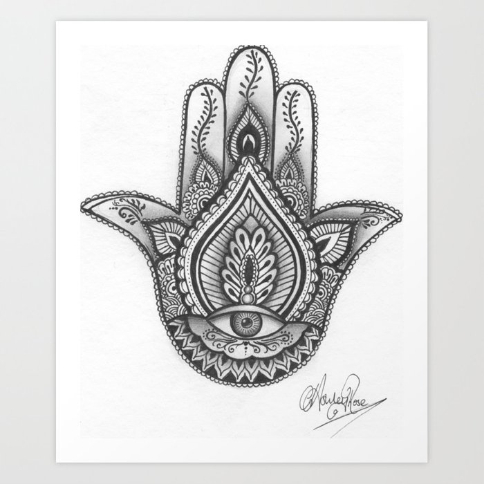 hamsa hand illustration evil eye protection good luck by ashley rose standish art print by. Black Bedroom Furniture Sets. Home Design Ideas