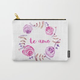 Te Amo - Pink Watercolor Floral Wreath 'I love you' in Spanish Carry-All Pouch