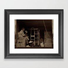 Man eating inside the van. Chinatown, New York City Framed Art Print