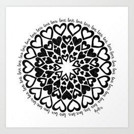 Love Heart Mandala Art Print