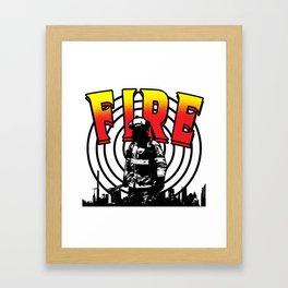 Firefighter Love Fire Ax Hose Extinguisher Gift Framed Art Print