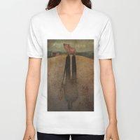 farm V-neck T-shirts featuring Animal Farm by Marilyn Foehrenbach