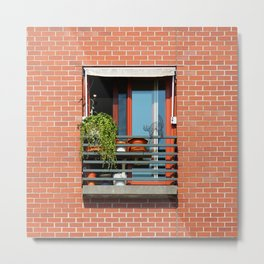 Window Brick Building with Cat Wire Statue Red Wall Metal Print