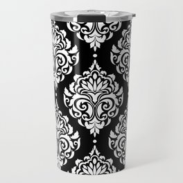 Black Monochrome Damask Pattern Travel Mug