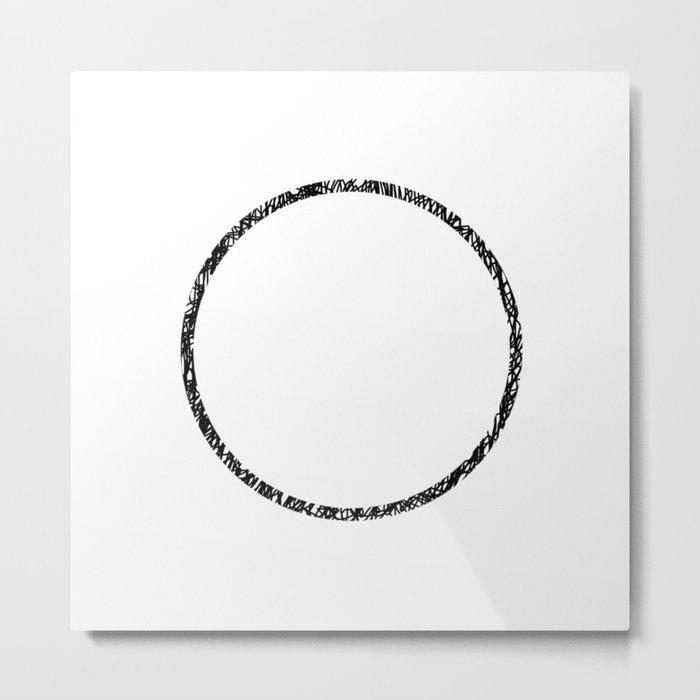 Scribble Ring - Black ink, black and white, minimalistic, ring artwork Metal Print