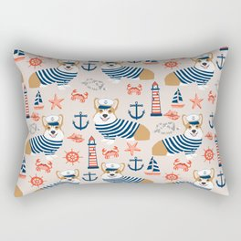 Corgi nautical sailor dog cute pet costume portrait welsh corgis Rectangular Pillow