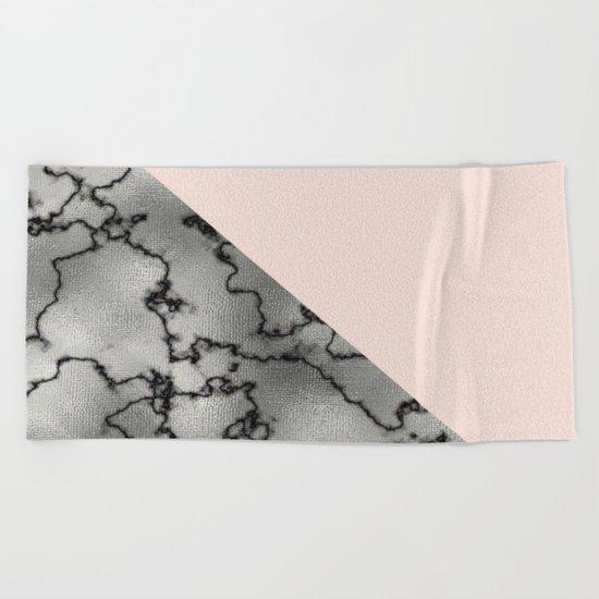 Peach and silver marble metallic Beach Towel