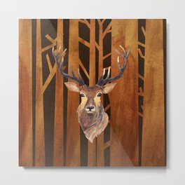 Proud deer in forest 1- Watercolor illustration Metal Print