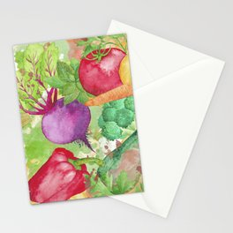Mixed Vegetables Watercolor Stationery Cards
