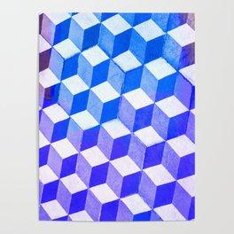 Blue Antic Tile Pattern Poster