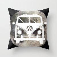 volkswagon Throw Pillows featuring Moon Wagon by Isaak_Rodriguez