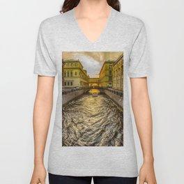 Swan Canal in St. Petersburg Unisex V-Neck