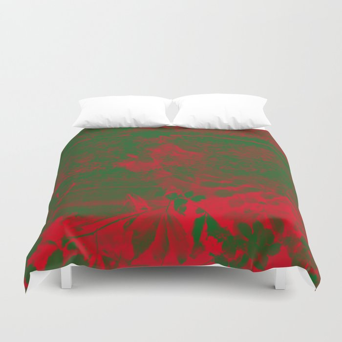Leaves in fire red green fantasy Duvet Cover