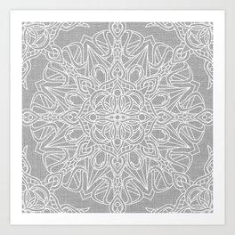 White Mandala on Grey Linen Art Print