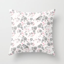 Silver and pink cherry blossom birds Throw Pillow