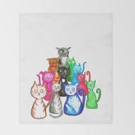 Gang of cats Throw Blanket