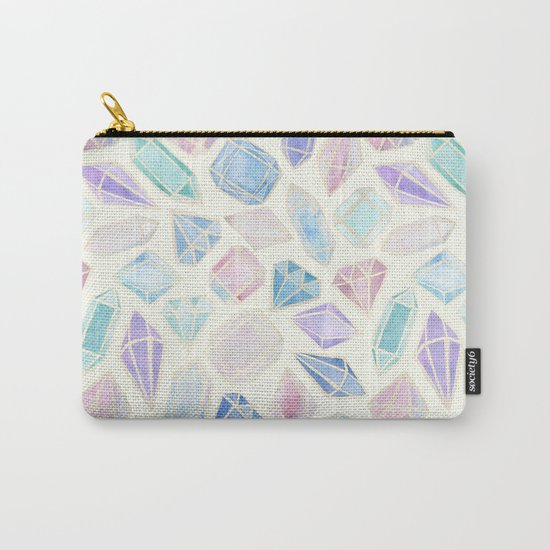 Pastel Watercolor Gems Carry-All Pouch