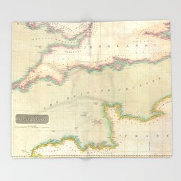 Vintage Map of The English Channel (1814) Throw Blanket