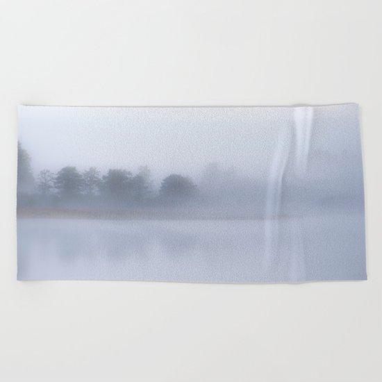Autumn Foggy Morning Beach Towel