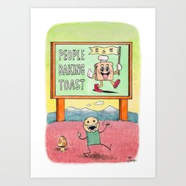 People Baking Toast Art Print