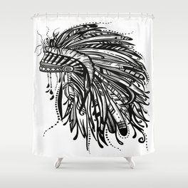 Native American Indian Headdress Warbonnet Black and White Shower Curtain