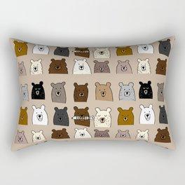 Bear Portraits on Brown Rectangular Pillow