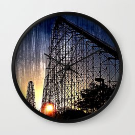 Mamba Roller Coaster at Sunset Grunge Wall Clock