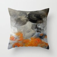 imagerybydianna Throw Pillows featuring empty hurricane fires by Imagery by dianna