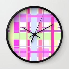 Spring Tartan - cool pink pattern Wall Clock