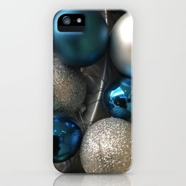 Holiday Blue and Silver Glitter Ornaments iPhone Case