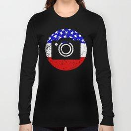 American Flag Photographer Long Sleeve T-shirt