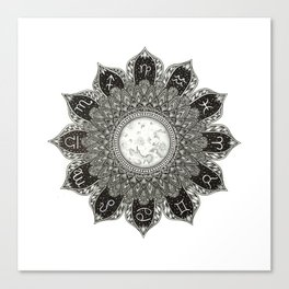 Astrology Signs Mandala Canvas Print