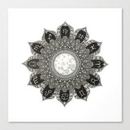 Astrology Signs Mandala Canvas Print