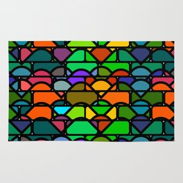 Colorful waves and bricks Rug