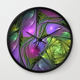 Good Mood, Abstract Colorful Fractal Art Wall Clock