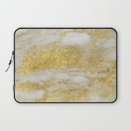 Marble - Glittery Gold Marble and White Pattern Laptop Sleeve